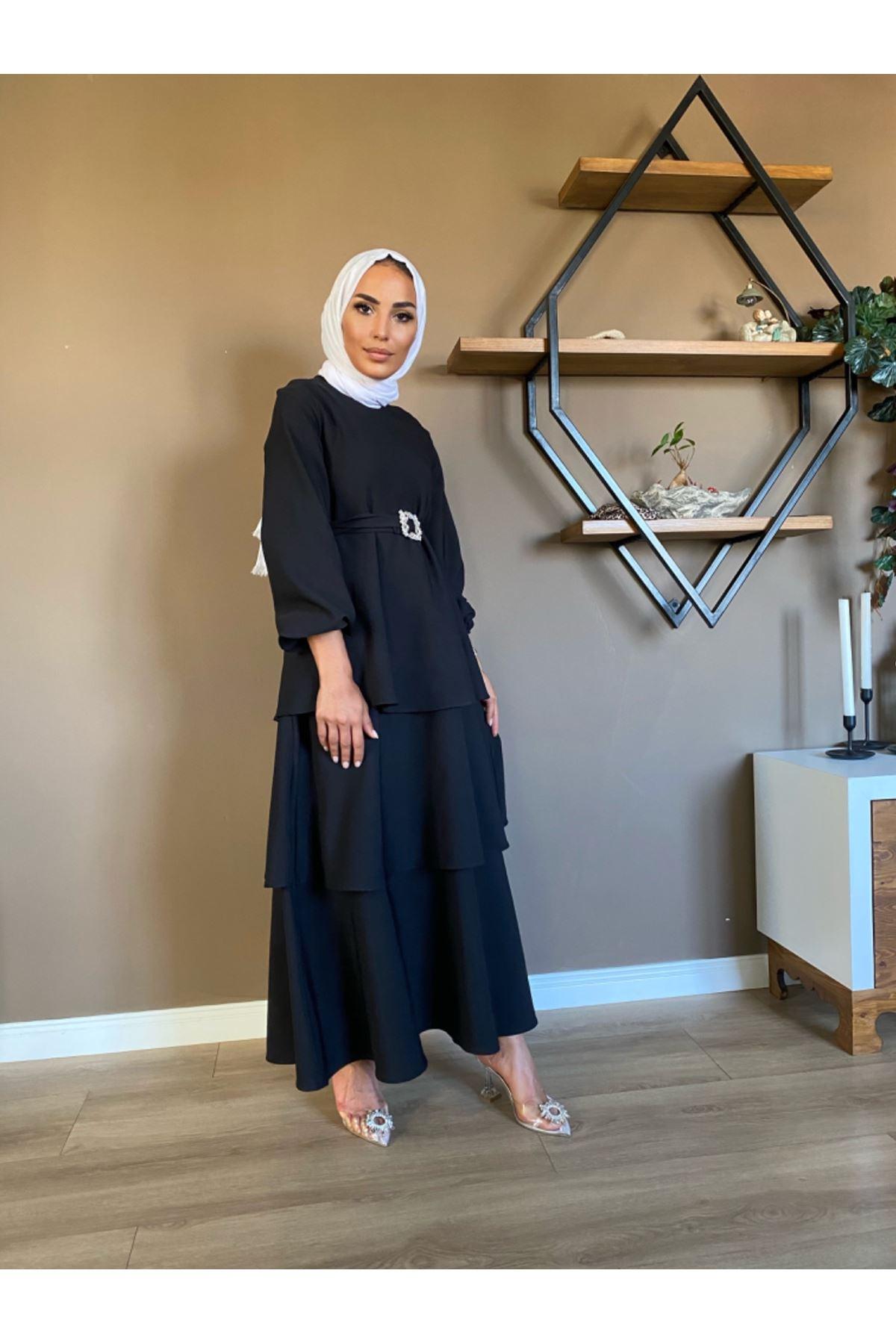 Brode elbise - Siyah