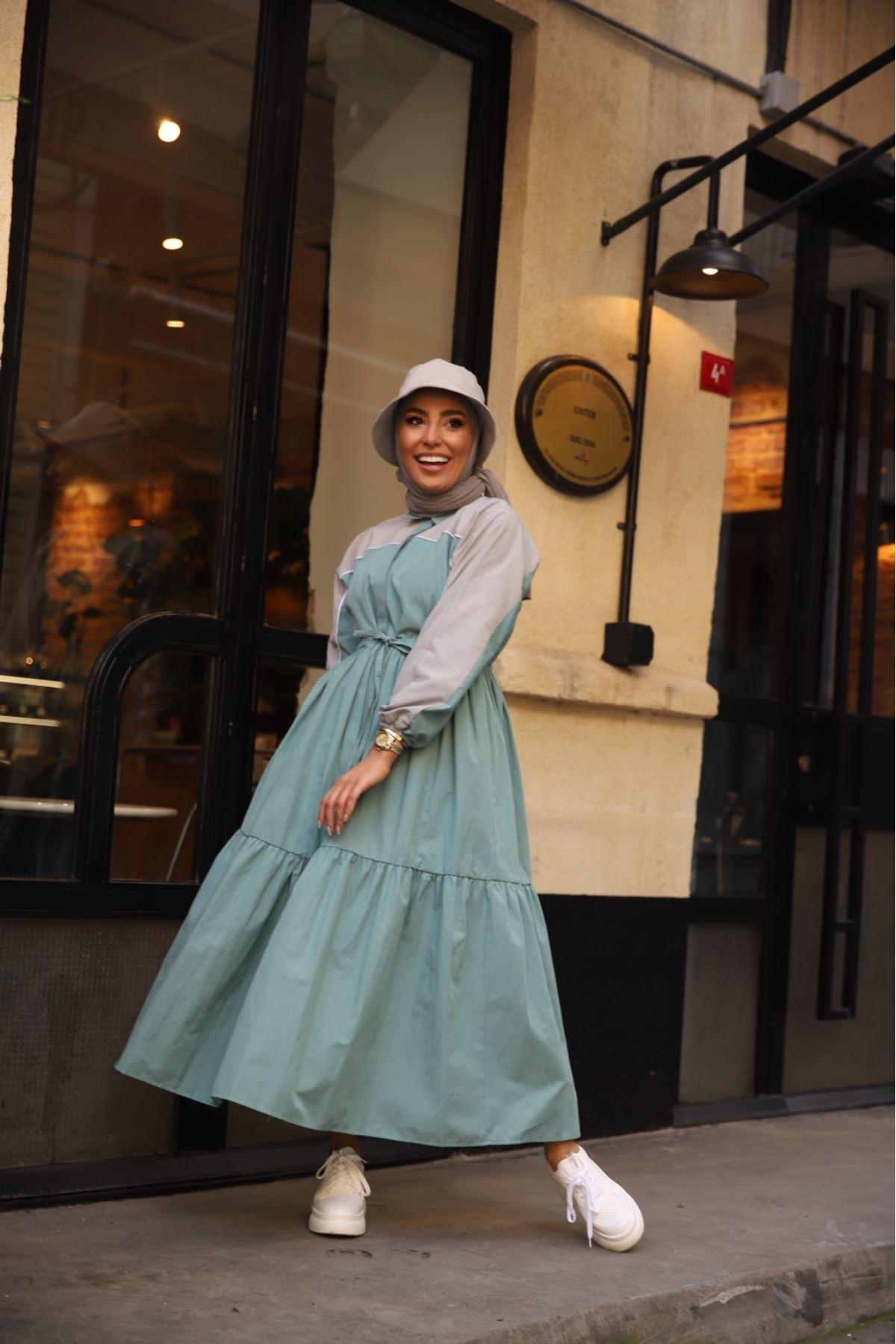 Riva biyeli elbise - Petrol
