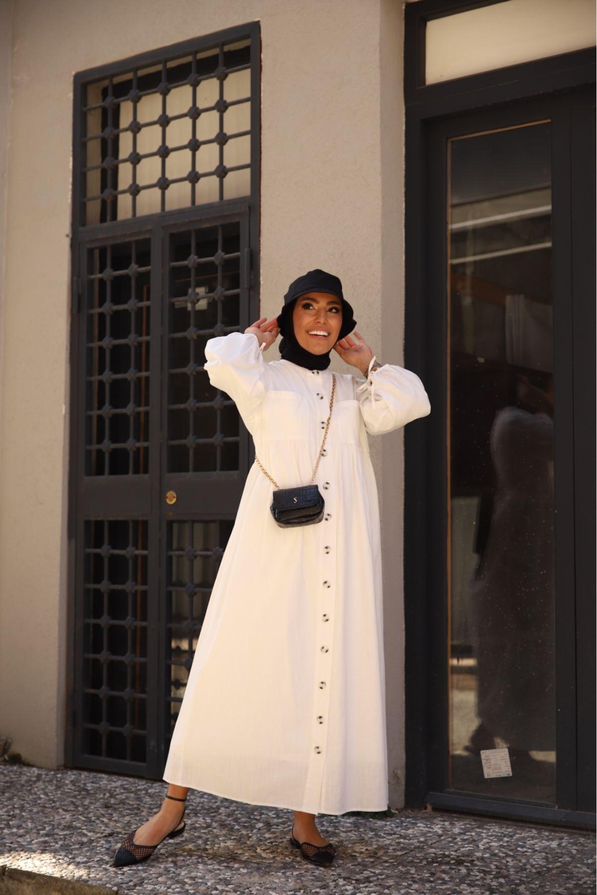 Flam keten elbise - Beyaz