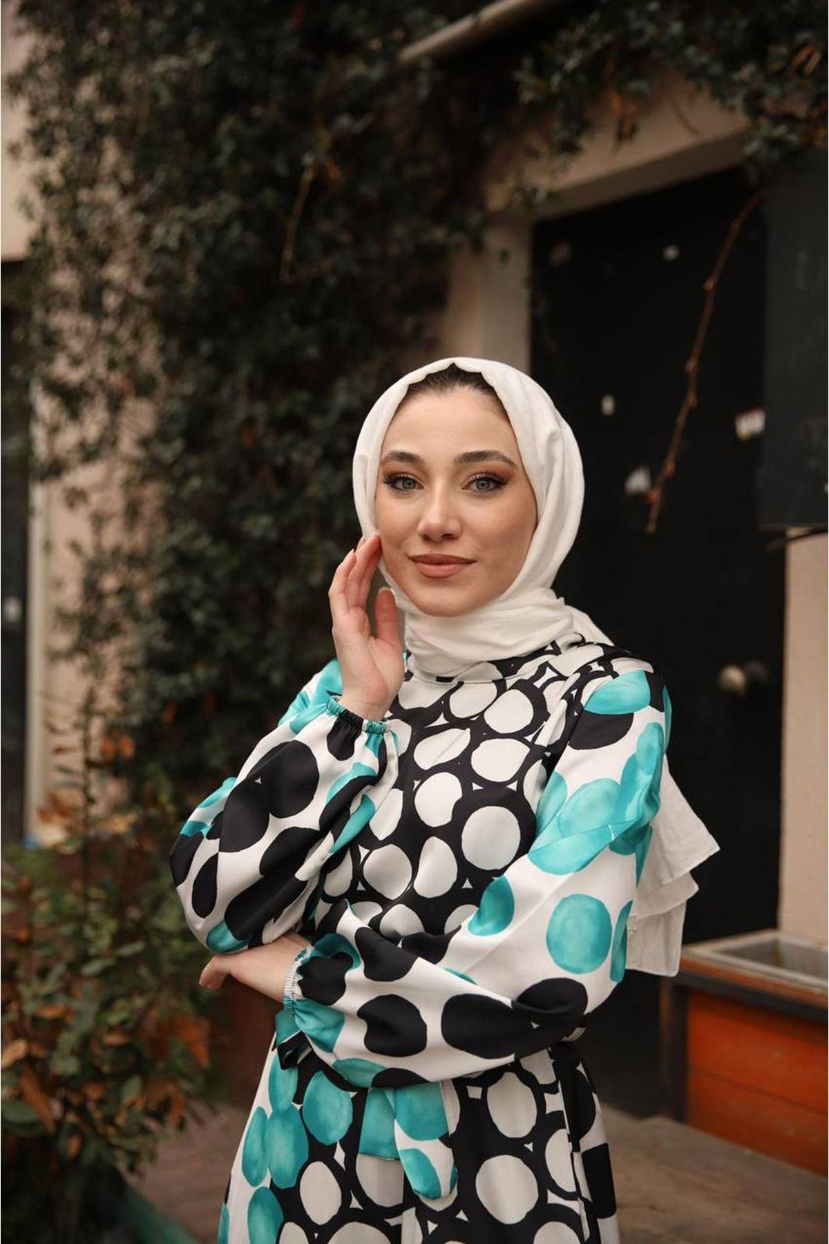 desenli elbise - turkuaz