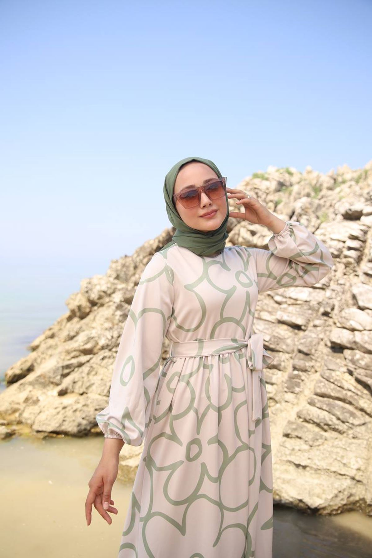 Papatya elbise - haki