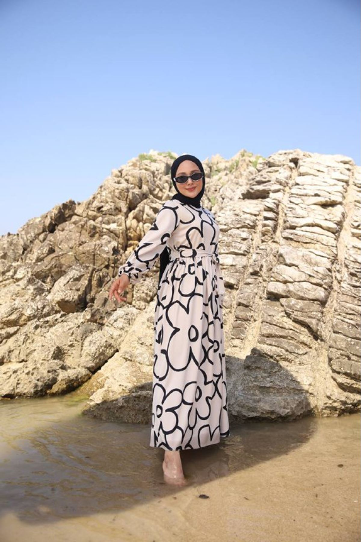 Papatya elbise - siyah