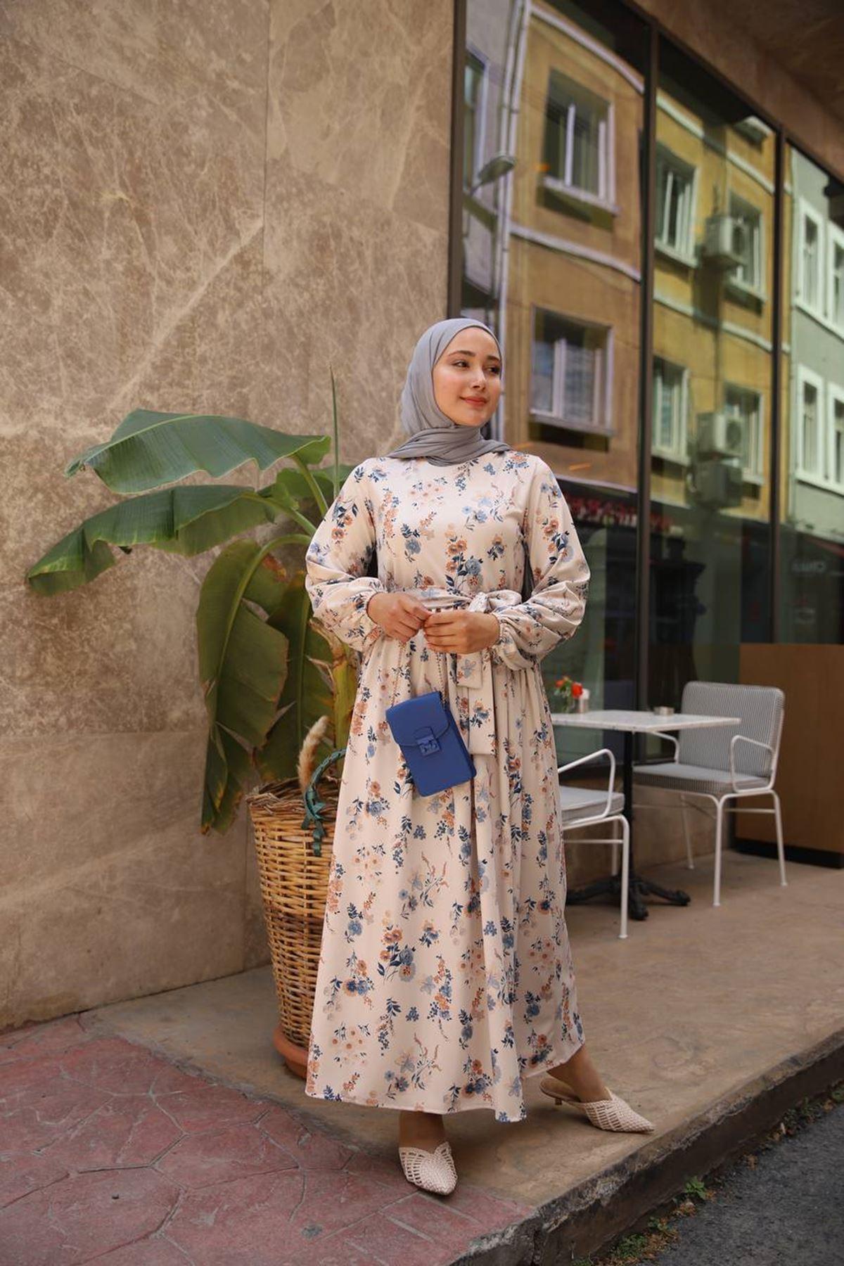 Çiçek elbise- mavi