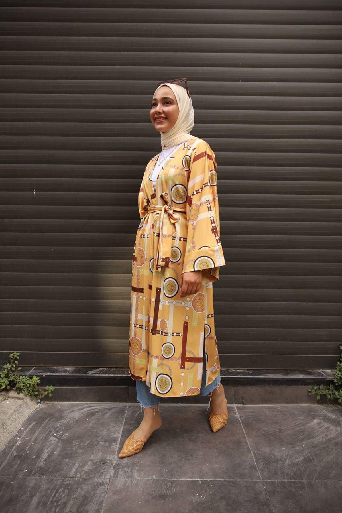 desenli kimono 1 - hardal