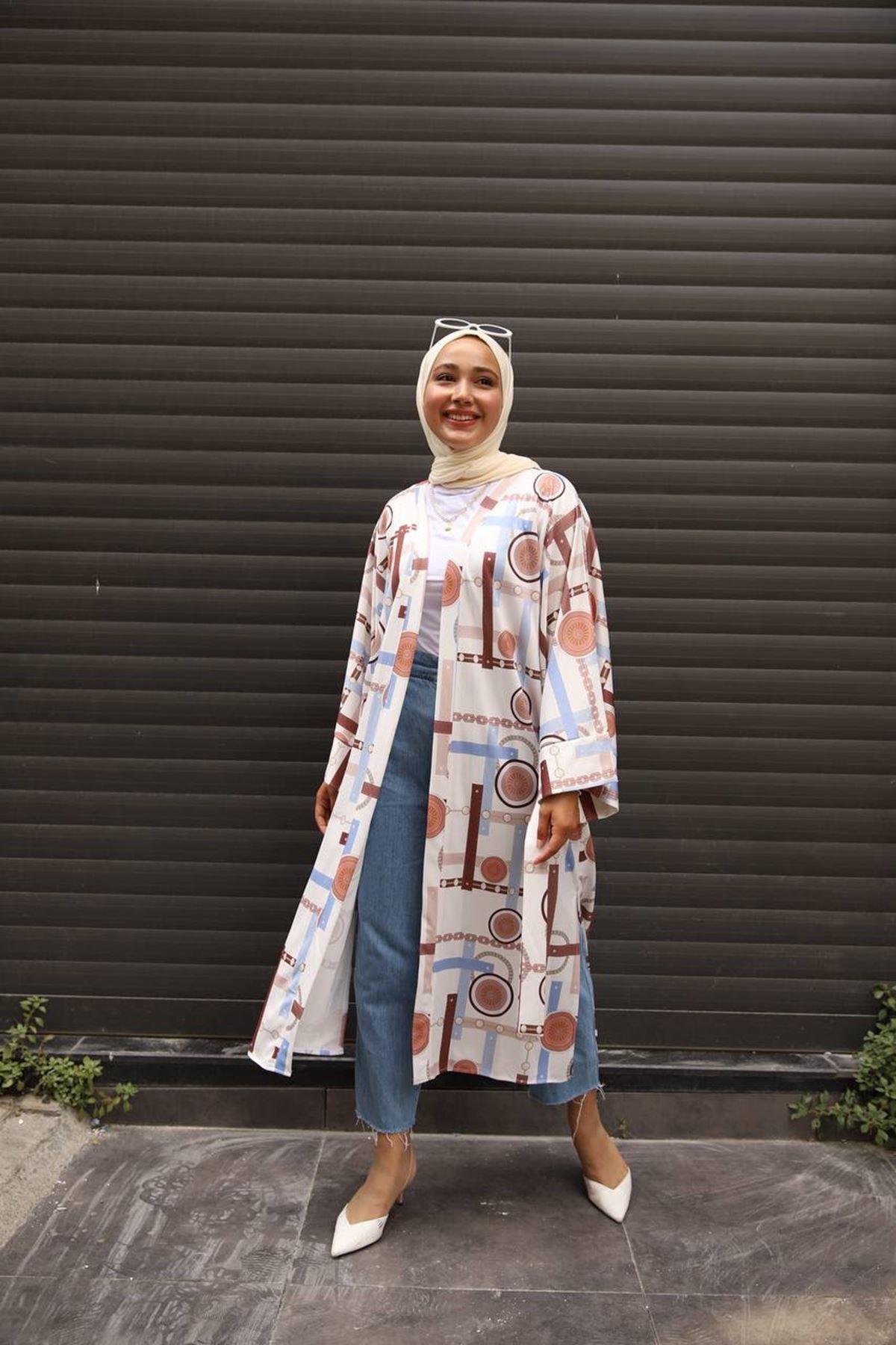 desenli kimono 1 - bej