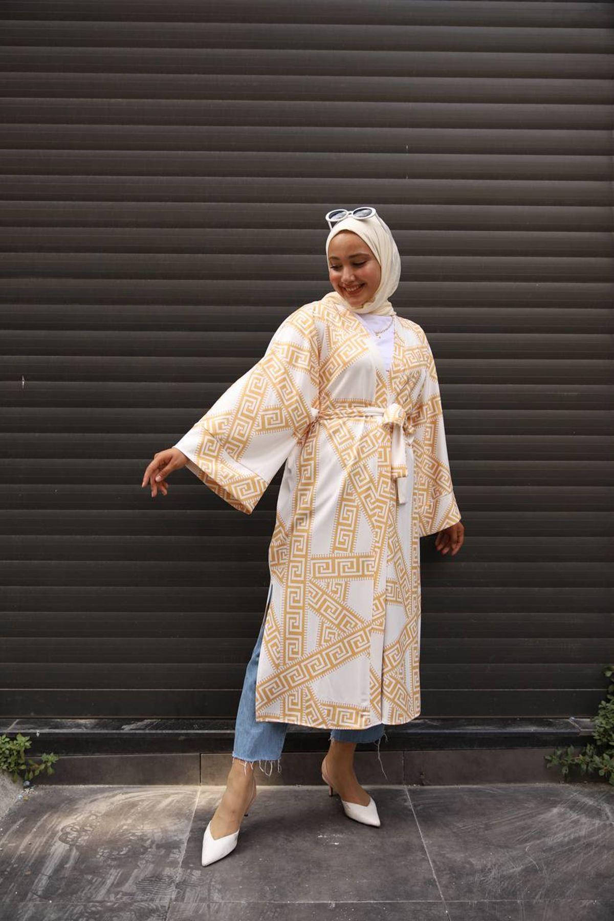 desenli kimono 2 - sarı